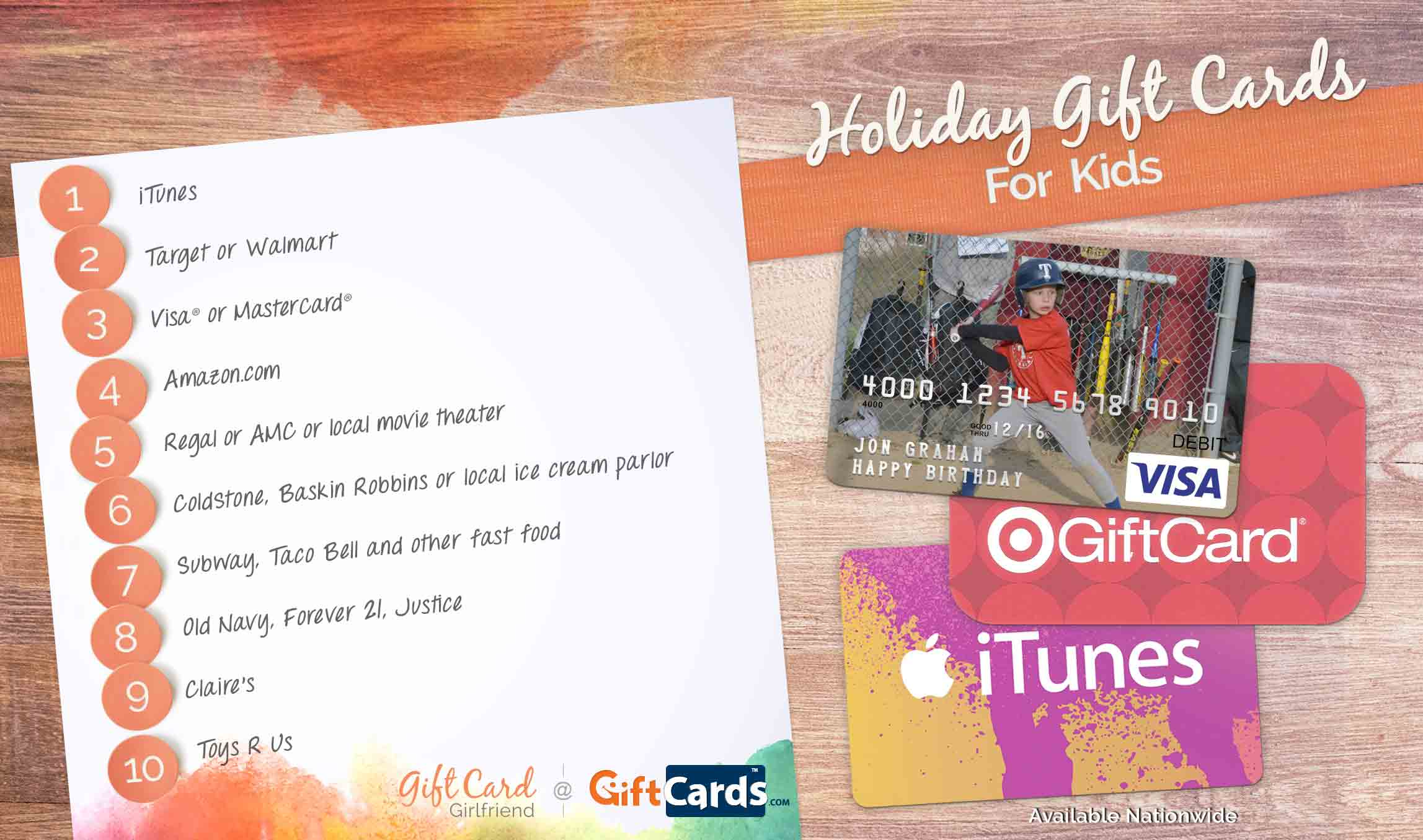 top gift cards for kids