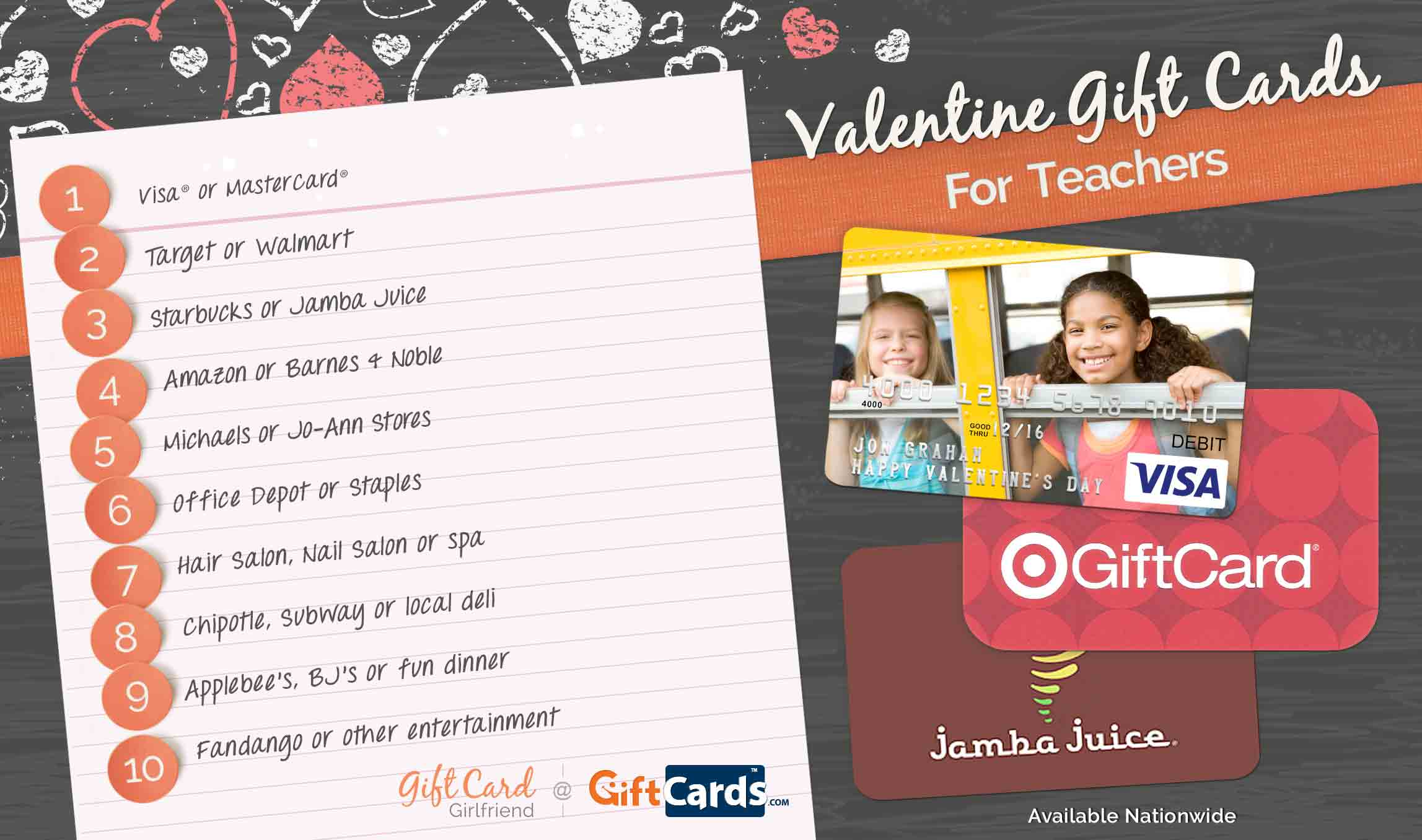 list of best valentine's day gift cards for teachers
