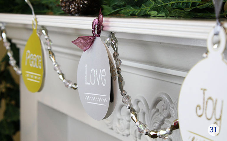 Peace Love and Joy gift card ornaments