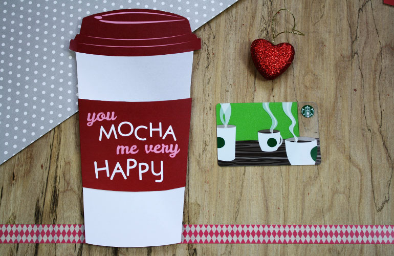 valentine cup with paper sleeve