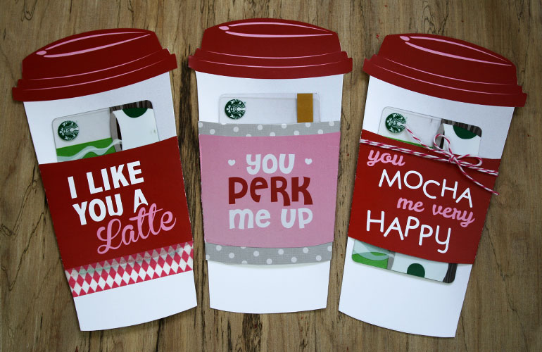 three valentine coffee cups