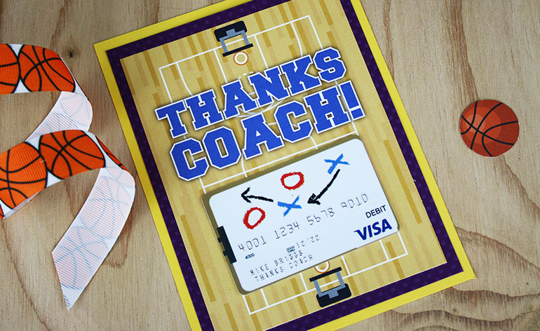 basketball coach holder with visa gift card