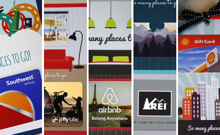 five free travel-themed gift card holders