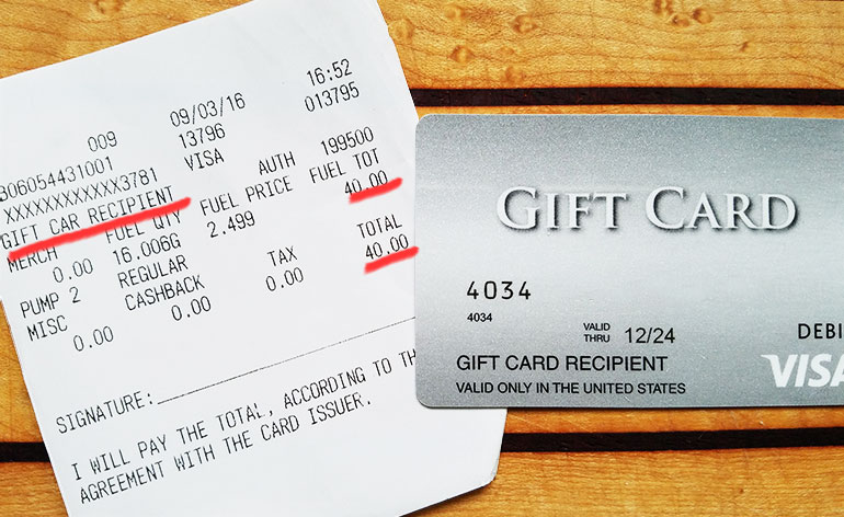 receipt from gas station - Visa Gift Card Canada