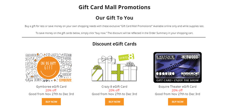 gift card mall promotions