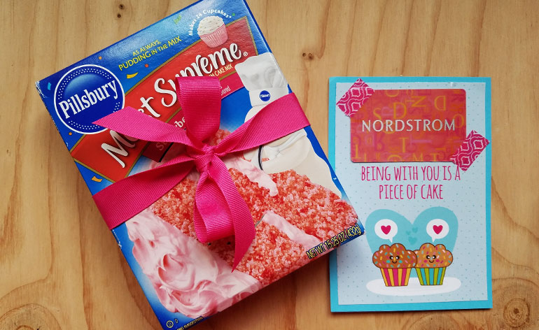 gift card with caked box mix