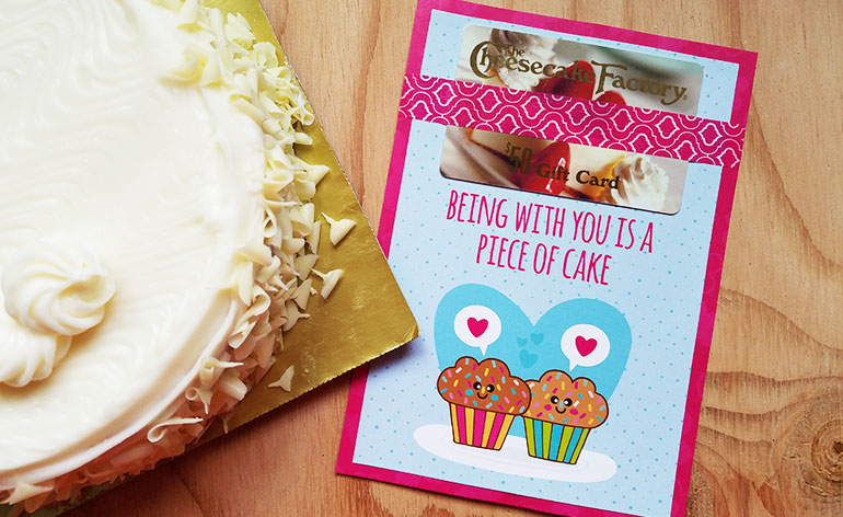 gift card holder with cake