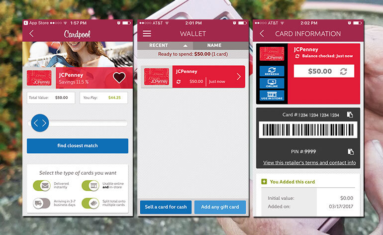 screen shots of gift card app