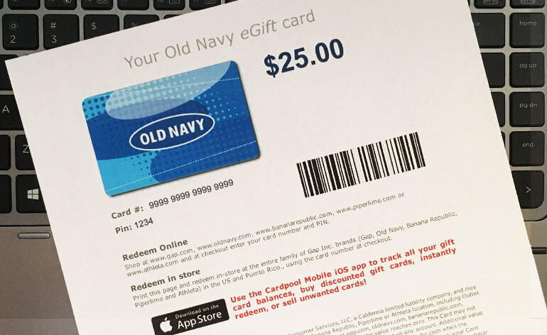paper copy of egift card